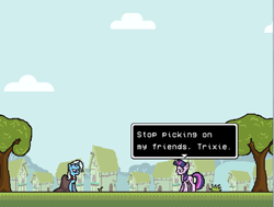 Size: 546x412 | Tagged: safe, artist:softlava, trixie, twilight sparkle, pony, unicorn, female, game screencap, mare, pixel art, rpg maker vx ace, tree