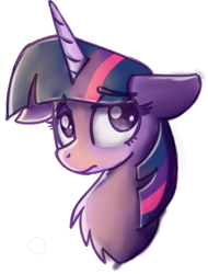 Size: 410x540 | Tagged: safe, artist:sugar morning, twilight sparkle, pony, bust, chest fluff, cute, eye clipping through hair, eyebrows visible through hair, female, floppy ears, mare, portrait, sad, sadorable, simple background, solo, twiabetes, white background