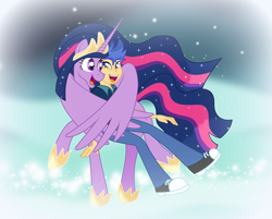 Size: 2572x2068 | Tagged: safe, artist:bbbhuey, artist:estories, flash sentry, twilight sparkle, alicorn, pony, equestria girls, the last problem, adult, cheek squish, crown, dream realm, dream walker, female, flashlight, good end, high res, hoof shoes, hug, hug from behind, human flash sentry x pony twilight, interspecies, jewelry, looking at each other, male, mare, older, older flash sentry, older twilight, open mouth, princess twilight 2.0, regalia, shipping, show accurate, smiling, squishy cheeks, story included, straight, stubble, twilight sparkle (alicorn), winghug