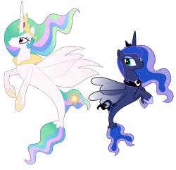 Size: 3113x3000 | Tagged: safe, artist:askometa, princess celestia, princess luna, alicorn, seapony (g4), crown, duo, duo female, female, high res, hoof shoes, jewelry, looking sideways, regalia, royal sisters, seaponified, seapony celestia, seapony luna, show accurate, siblings, simple background, sisters, species swap, transparent background, vector