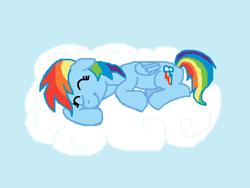Size: 640x480 | Tagged: safe, artist:m.w., rainbow dash, pegasus, pony, cloud, cute, female, lying down, mare, ms paint, sleeping, solo