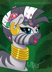 Size: 1500x2100 | Tagged: safe, artist:cadetredshirt, zecora, pony, zebra, accessories, beautiful, ear piercing, earring, female, flower, flower in hair, jewelry, mare, mohawk, neck rings, piercing, smiling, solo