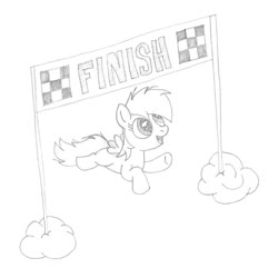 Size: 800x800 | Tagged: safe, artist:m.w., rainbow dash, pegasus, pony, atg 2017, banner, cloud, cute, female, filly, finish line, flying, monochrome, newbie artist training grounds, simple background, smiling, solo, white background