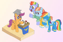 Size: 1200x800 | Tagged: safe, artist:m.w., bow hothoof, rainbow dash, scootaloo, windy whistles, pegasus, pony, atg 2017, clothes, crying, cute, eyes closed, female, graduation, graduation cap, hat, mare, newbie artist training grounds, podium, tears of joy, uniform, wonderbolts uniform