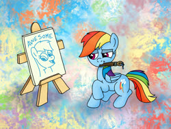Size: 1200x900 | Tagged: safe, artist:m.w., rainbow dash, pegasus, pony, abstract background, cute, female, mare, mouth hold, paintbrush, painting, self portrait, self-potrait, solo