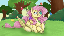 Size: 5600x3150 | Tagged: safe, artist:feathershine1, fluttershy, butterfly, pegasus, pony, butterfly on nose, cloven hooves, cross-eyed, cute, ear fluff, female, folded wings, grass, high res, insect on nose, looking at something, mare, outdoors, prone, shyabetes, smiling, solo, stray strand, tree, wings