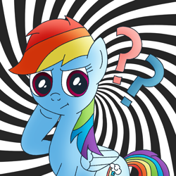 Size: 1111x1111 | Tagged: safe, artist:m.w., rainbow dash, pegasus, pony, abstract background, cute, female, mare, question mark, solo