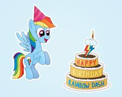 Size: 1000x800 | Tagged: safe, alternate version, artist:m.w., rainbow dash, pegasus, pony, birthday, birthday cake, cake, cute, female, food, happy birthday, hat, mare, party hat, rainbow dash day, rainbow dash's birthday, simple background, smiling, solo