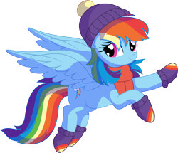 Size: 7187x6178 | Tagged: safe, artist:cyanlightning, rainbow dash, pegasus, pony, .svg available, absurd resolution, clothes, cute, dashabetes, dress, female, flying, lidded eyes, looking at you, mare, scarf, simple background, smiling, solo, spread wings, svg, transparent background, vector, wings, winter outfit