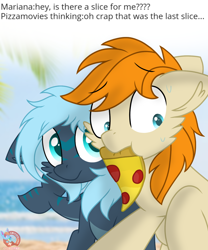 Size: 1102x1324 | Tagged: safe, artist:rainbow eevee, oc, oc only, oc:mariana, oc:pizzamovies, earth pony, original species, pony, shark, shark pony, beach, blue eyes, dialogue, duo, eyebrows visible through hair, female, food, male, meat, mouth hold, ocean, pepperoni, pepperoni pizza, pizza, sand, sweat, text, worried