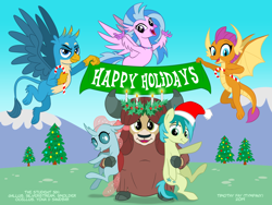 Size: 1280x960 | Tagged: safe, alternate version, artist:tim-kangaroo, gallus, ocellus, sandbar, silverstream, smolder, yona, changedling, changeling, classical hippogriff, dragon, earth pony, griffon, hippogriff, pony, yak, equestria daily, bow, candy, candy cane, christmas, christmas tree, cloven hooves, colored hooves, dragoness, drawfriend, female, field, food, hair bow, hearth's warming eve, holiday, hug, jewelry, looking at you, magic, male, monkey swings, necklace, poster, smiling, student six, teenager, tree