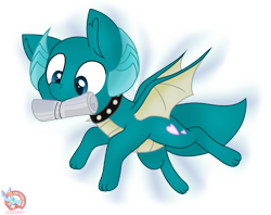 Size: 1717x1359   Tagged: safe, artist:rainbow eevee, oc, oc only, oc:puppy love, dracony, dragon, hybrid, pony, collar, cutie mark, fangs, fetch, horns, male, mouth hold, newspaper, simple background, solo, spiked collar, spread wings, transparent background, wings