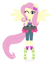 Size: 468x544 | Tagged: safe, artist:cathylility, artist:selenaede, fluttershy, human, dance magic, equestria girls, spoiler:eqg specials, ballet slippers, base used, clothes, hairpin, one eye closed, pegasus wings, ponied up, pony ears, shoes, simple background, transparent background, wings