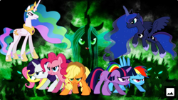 Size: 1338x750 | Tagged: artist needed, safe, applejack, fluttershy, pinkie pie, princess celestia, princess luna, queen chrysalis, rainbow dash, rarity, twilight sparkle, changeling, earth pony, pegasus, pony, unicorn, angry, applejack's hat, changeling armor, cowboy hat, crown, flying, gritted teeth, hat, hoof shoes, jewelry, mane six, regalia, spread wings, wings