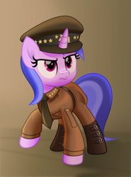 Size: 5000x6759 | Tagged: safe, artist:jhayarr23, sea swirl, seafoam, pony, unicorn, background pony, clothes, commission, fallout, fallout: new vegas, female, general, hat, mare, movie accurate, ncr, necktie, solo, uniform