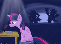 Size: 1400x1018 | Tagged: safe, artist:rockhoppr3, applejack, rainbow dash, twilight sparkle, alicorn, earth pony, pegasus, pony, annoyed, book, desk, inkwell, quill, quill pen, silhouette, sitting, television, twilight sparkle (alicorn)