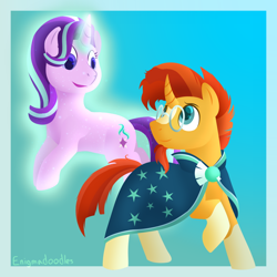 Size: 1000x1000   Tagged: safe, artist:enigmadoodles, starlight glimmer, sunburst, pony, unicorn, glowing horn, horn, smiling
