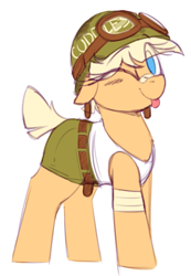 Size: 939x1355 | Tagged: safe, artist:shinodage, edit, oc, oc only, oc:oasis (shino), pony, :p, bandage, clothes, cute, eye clipping through hair, female, goggles, helmet, looking at you, mare, military, military pony, no pupils, nostrils edit, not applejack, ocbetes, one eye closed, pants, shirt, simple background, solo, tongue out, white background, wink