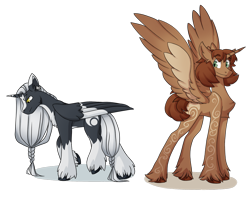 Size: 1280x1016 | Tagged: safe, artist:marly-kaxon, oc, oc only, oc:frith, oc:inle, alicorn, alicorn oc, body writing, chest fluff, ear piercing, folded wings, looking down, male, piercing, simple background, spread wings, stallion, transparent background, unshorn fetlocks, wings