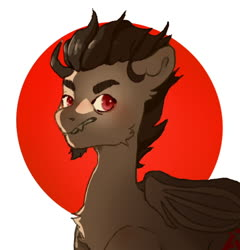 Size: 700x729 | Tagged: safe, artist:nconebin, derpibooru exclusive, oc, oc:soul, bat pony, beard, brown coat, brown mane, eyebrows, facial hair, fangs, fluffy, male, red eyes, simple background, solo, stallion