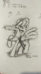 Size: 2160x3840 | Tagged: safe, artist:linyangqi, artist:林扬骐, oc, oc:sonar, oc:呐呐, pegasus, pony, angry, bee?, cap, clothes, fight, hat, headphones, inertia, moving, pencil drawing, photo, scarf, shadow, solo, sonar, sword, traditional art, weapon, 呐呐
