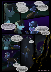 Size: 1240x1754 | Tagged: safe, artist:lunarcakez, princess luna, oc, earth pony, pony, comic:the origins of hollow shades, cloak, clothes, comic, male, night, s1 luna, stallion, well