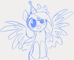 Size: 655x528 | Tagged: safe, artist:dotkwa, rainbow dash, pegasus, pony, blushing, cute, dashabetes, female, hat, hooves together, lineart, looking at you, monochrome, party hat, rainbow dash day, rainbow dash's birthday, simple background, sketch, solo, spread wings, wide eyes, wings