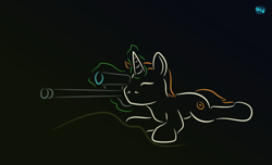 Size: 640x390 | Tagged: safe, artist:quint-t-w, oc, oc only, pony, unicorn, aiming, gradient background, gun, levitation, lying down, magic, minimalist, modern art, old art, one eye closed, rifle, sniper rifle, solo, telekinesis, weapon