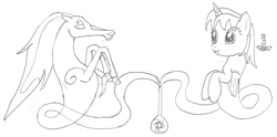 Size: 1758x872 | Tagged: safe, artist:parclytaxel, oc, oc only, oc:parcly taxel, oc:spindle, alicorn, genie, genie pony, pony, windigo, ain't never had friends like us, albumin flask, series:nightliner, :p, alicorn oc, bottle, female, floating, lineart, mare, monochrome, pencil drawing, raised hoof, tongue out, traditional art, windigo oc