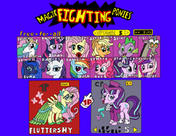 Size: 1998x1545 | Tagged: safe, applejack, discord, fluttershy, pinkie pie, princess cadance, princess celestia, princess luna, rainbow dash, rarity, snowfall frost, spike, starlight glimmer, twilight, twilight sparkle, alicorn, draconequus, dragon, earth pony, pegasus, pony, unicorn, clothes, costume, dress, fight, gala dress, game, parody, super smash bros., video game