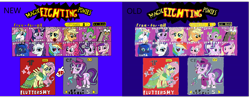 Size: 3946x1545 | Tagged: safe, applejack, discord, fluttershy, pinkie pie, princess cadance, princess celestia, princess luna, rainbow dash, rarity, snowfall frost, spike, starlight glimmer, twilight, twilight sparkle, alicorn, draconequus, dragon, earth pony, pegasus, pony, unicorn, clothes, comparison, costume, dress, fight, gala dress, game, parody, super smash bros., video game