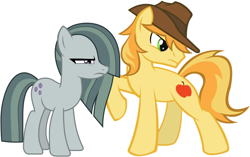 Size: 2064x1293 | Tagged: safe, artist:divebomb5, artist:sonofaskywalker, braeburn, marble pie, badass, badass adorable, badass pose, battle couple, braeble, braeburn is not amused, couple, cute, female, glare, male, marble pie is not amused, shipping, straight
