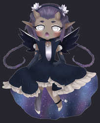 Size: 1350x1656 | Tagged: safe, artist:sinamuna, oc, oc only, human, oni, anklet, armor, art trade, blushing, braid, chestplate, chibi, choker, clothes, crescent moon, dark skin, dress, elf ears, eyebrows, eyeshadow, female, flower, galaxy, gloves, headband, horns, humanized, humanized oc, humanoid, jewelry, long hair, makeup, moon, open mouth, personification, pony to human, purple background, purple hair, short hair, silver eyes, simple background, skirt, skirt lift, solo, space, stars, white eyes, winged humanization, wings