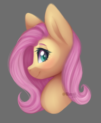 Size: 612x748 | Tagged: safe, artist:mxnxii, fluttershy, pegasus, pony, bust, cute, female, gray background, looking at you, mare, portrait, profile, shyabetes, simple background, smiling, solo