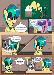 Size: 2391x3296 | Tagged: safe, artist:chaosllama, berry blend, berry bliss, oc, oc:apogee, oc:mocha bean macchiato, earth pony, pegasus, unicorn, apron, beanie, clothes, coffee shop, comic, dialogue, female, filly, friendship student, glasses, hat, mare, open mouth, starbucks, teenager, uniform