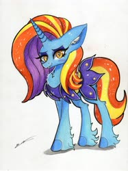 Size: 4911x6571 | Tagged: safe, artist:luxiwind, sassy saddles, pony, absurd resolution, heart eyes, solo, traditional art, wingding eyes