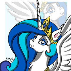 Size: 600x600 | Tagged: safe, artist:x-fang-z, oc, oc:sky lightning, alicorn, pony, alicorn oc, bust, female, mare, peytral, portrait, solo, zoom layer