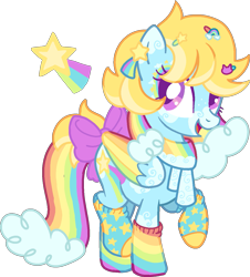 Size: 1165x1287 | Tagged: safe, artist:rainbow-disc, oc, oc only, oc:starbow, pegasus, pony, bow, clothes, cute, ear piercing, earring, eyeshadow, female, hairpin, jewelry, makeup, mare, markings, mismatched socks, multicolored hair, ocbetes, open mouth, piercing, rainbow hair, rainbow socks, raised hoof, raised leg, simple background, socks, solo, striped socks, tail bow, transparent background