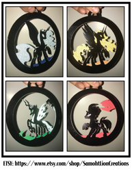 Size: 2550x3300 | Tagged: safe, artist:samoht-lion, daybreaker, nightmare moon, queen chrysalis, tempest shadow, alicorn, changeling, changeling queen, pony, unicorn, broken horn, craft, eye scar, female, hand, horn, irl, mare, open mouth, papercraft, photo, raised hoof, scar, traditional art