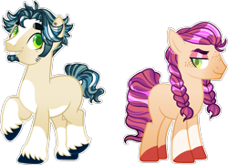 Size: 2545x1844   Tagged: safe, artist:seasaltsailor, oc, oc only, oc:goldspur apple, oc:jonagold apple, earth pony, pony, base used, blank flank, blaze (coat marking), brother and sister, duo, ear piercing, eyeshadow, facial hair, female, fraternal twins, freckles, goatee, makeup, male, offspring, parent:big macintosh, parent:coloratura, parents:raramac, piercing, siblings, sideburns, simple background, socks (coat marking), thick eyebrows, transparent background, unshorn fetlocks