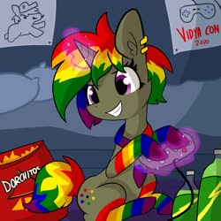Size: 2160x2160 | Tagged: safe, artist:tjpones, oc, oc only, pony, unicorn, chips, clothes, commission, doritos, female, food, magic, mare, rainbow socks, socks, solo, striped socks, telekinesis