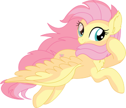 Size: 7125x6141 | Tagged: safe, artist:cyanlightning, fluttershy, pegasus, pony, .svg available, absurd resolution, chest fluff, cute, female, flying, looking at you, mare, shyabetes, simple background, smiling, solo, spread wings, svg, transparent background, vector, wings