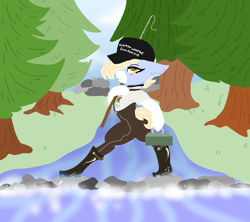 Size: 1980x1760 | Tagged: safe, artist:nootaz, oc, oc only, oc:nootaz, fishing rod, forest, river, solo, stepping stones, tree
