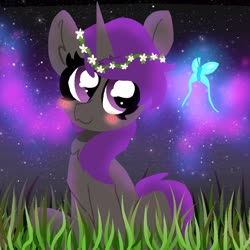 Size: 1000x1000 | Tagged: safe, artist:nootaz, oc, oc only, butterfly, blushing, floral head wreath, flower, grass, raffle prize, solo, stars