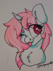 Size: 1954x2609   Tagged: safe, artist:spoopygander, oc, oc:scoops, pony, unicorn, chest fluff, female, horn, mare, one eye closed, solo, tongue out, traditional art, wink