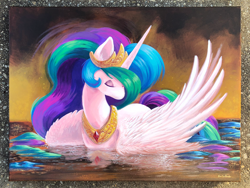 Size: 1500x1125 | Tagged: safe, artist:tsaoshin, princess celestia, abstract background, acrylic painting, commission, eyes closed, female, mare, reflection, solo, swanlestia, traditional art, water
