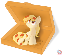 Size: 1848x1655 | Tagged: safe, artist:rainbow eevee, oc, oc only, oc:mozzarella orgy, food pony, original species, pizza pony, pony, cute, cutie mark, female, food, grease, hnnng, looking up, open box, peetzer pony, pizza, pizza box, red eyes, simple background, solo, transparent background