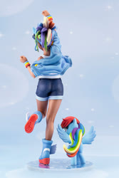 Size: 667x1000 | Tagged: safe, kotobukiya, rainbow dash, human, pony, ass, behind, butt, clothes, denim shorts, human ponidox, humanized, jean shorts, kotobukiya rainbow dash, leg in air, leg pits, legs, moe, rainbutt dash, self ponidox, sexy, shorts, tail, tomboy
