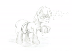 Size: 1920x1383 | Tagged: safe, artist:khaki-cap, oc, oc:khaki-cap, earth pony oc, food, irritated, mug, sketch, tea, tired
