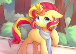 Size: 1700x1200 | Tagged: safe, artist:leafywind, sunset shimmer, pony, unicorn, clothes, cute, female, floppy ears, looking at you, mare, missing cutie mark, scarf, shimmerbetes, solo, starry eyes, wingding eyes